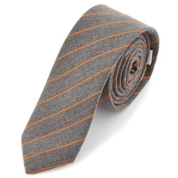 Corbata gris y naranja