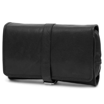 Montreal Hanging Black Leather Wash Bag
