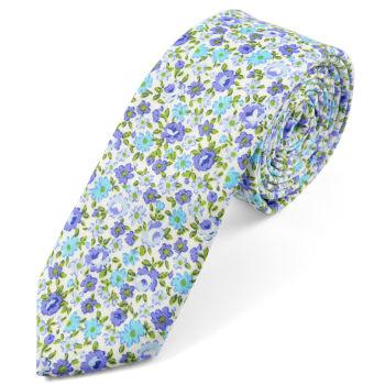 Corbata floreada azul en algodón