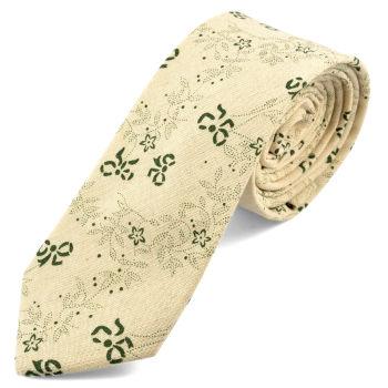 Corbata crema estampado floral