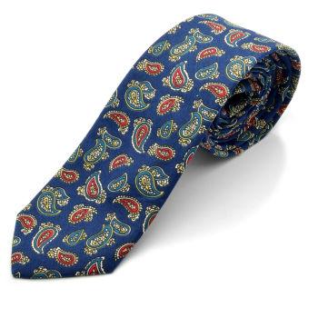 Corbata de cachemira azul marino