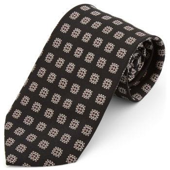 Corbata ancha de seda negra geométrica