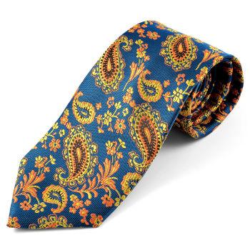 Hedvábná kravata s oranžovým Paisley vzorem