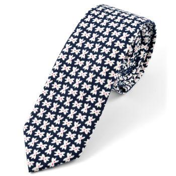 Corbata de algodón azul con diseño de lazos