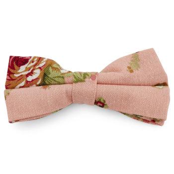 Pajarita floral rosa salmón