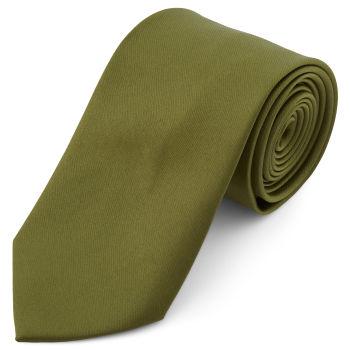 Corbata básica verde oliva 8 cm