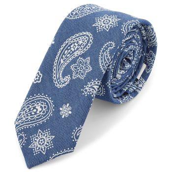 Corbata azul con estampado blanco