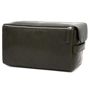 Montreal XL Olive Leather Wash Bag