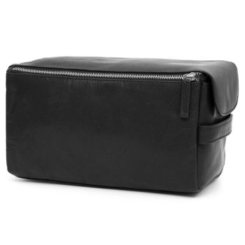 Montreal XL Black Leather Wash Bag
