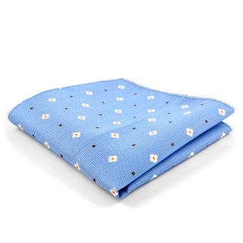 Pañuelo de bolsillo azul con margaritas