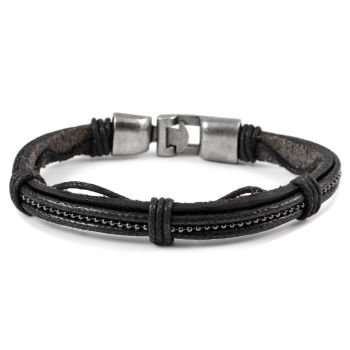 Gray Pearl Leather Bracelet