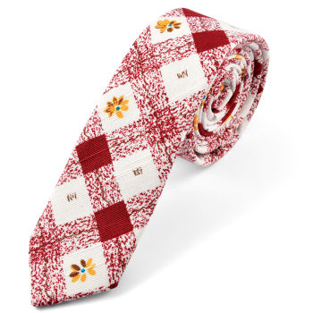 Corbata a cuadros rojos