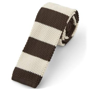 Corbata de punto marrón y blanca