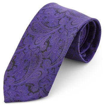 Corbata ancha de poliéster con estampado de cachemira morado