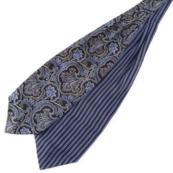 Sininen raita & barokkityylinen silkki ascot-solmio