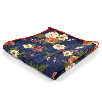 Pañuelo de bolsillo azul con flores