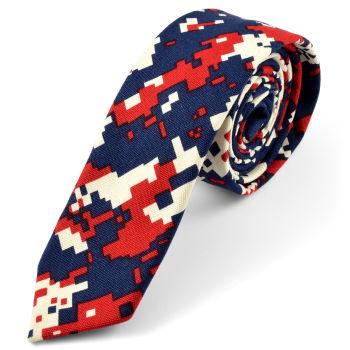 Corbata de píxeles en azul y rojo