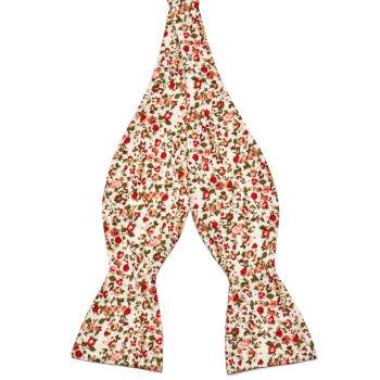 Pajarita para atar de algodón con estampado de flores en rojo