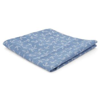 Pañuelo de bolsillo azul claro con anclas