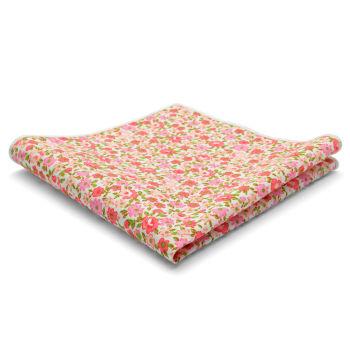 Pañuelo de bolsillo de algodón con flores rosas y rojas