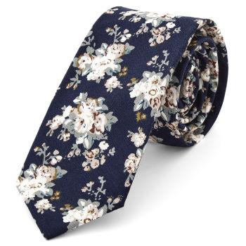 Corbata floral en azul y blanco