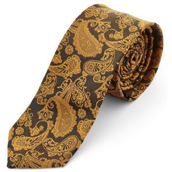 Corbata de poliéster con estampado de cachemira dorado