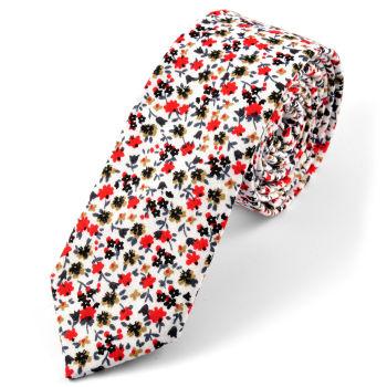 Corbata en algodón blanca floreada