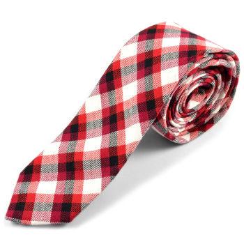 Corbata de lana a cuadros escoceses en rojo y blanco