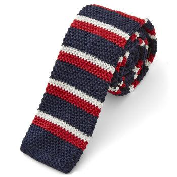 Corbata de punto azul y rojo