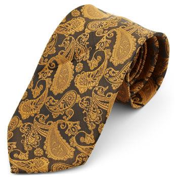 Corbata ancha de poliéster con estampado de cachemira dorado