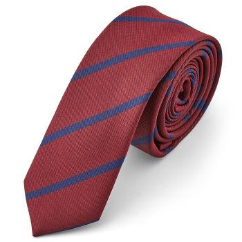 Corbata rojo metálico con rayas azules