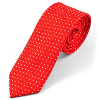 Corbata en algodón roja de lunares
