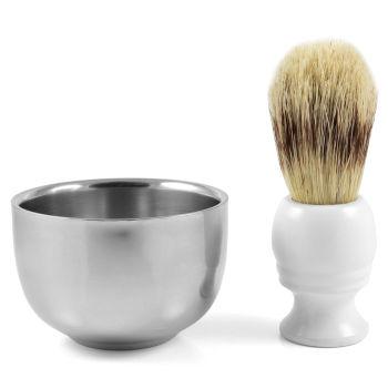 Conjunto de Barbear Taça e Pincel de Pêlo de Javali