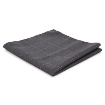 Dark Grey Checkered Pocket Square