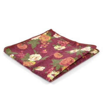 Pañuelo de bolsillo burdeos con flores