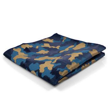 Pañuelo de bolsillo camuflaje azul y marrón