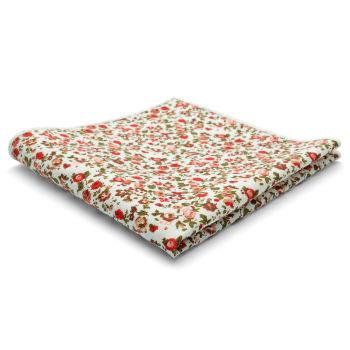 Pañuelo de bolsillo de algodón con flores rojas