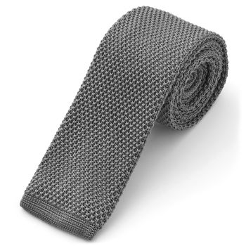 Corbata de punto gris ceniza
