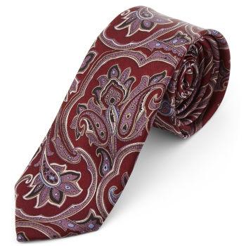 Corbata de seda barroca rojo y lavanda
