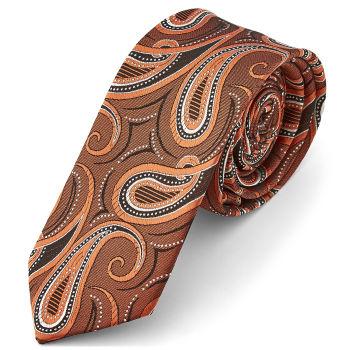 Corbata otoñal con estampado cachemira en tonos bronces otoñales