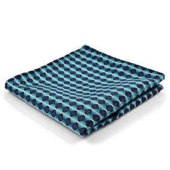 Pañuelo de bolsillo turquesa y azul marino