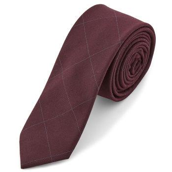 Burgundi vörös, kockás nyakkendő