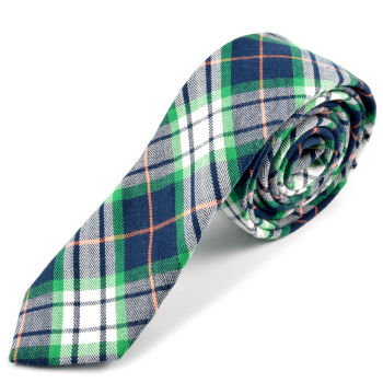 Corbata de lana a cuadros escoceses verdes