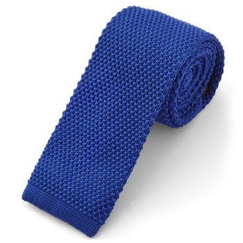 Corbata de punto azul vivo