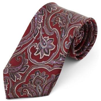 Corbata ancha de seda barroca rojo y lanvanda