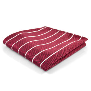 Pañuelo de bolsillo burdeos con rayas blancas