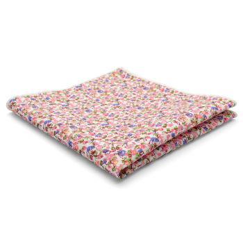 Pañuelo de bolsillo de algodón abstracto en rosa y azul