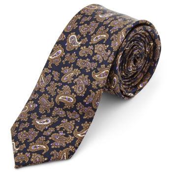 Corbata de seda marrón y morado con estampado de cachemira