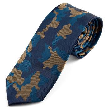 Corbata camuflaje azul y marrón