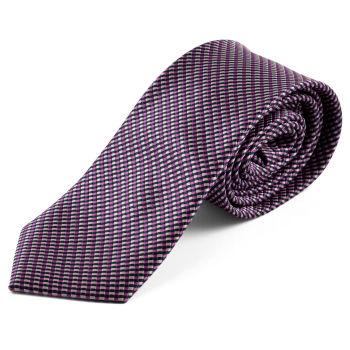Corbata cuadriculada púrpura y rosa
